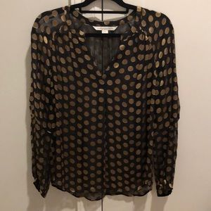 DVT Black and Gold Polka Dot Sheer Blouse
